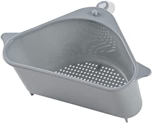 Sink Strainer Basket, Triangular Corner Kitchen Sink Strainer Punch-Free Multifunctional Sink Basket for Kitchen, Bathroom, Soap Box Organizer with Suction Cup for Support Corner (Gray)