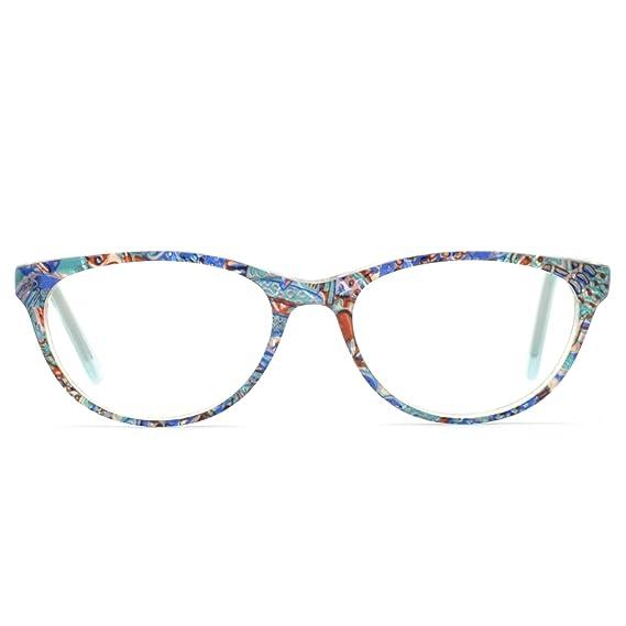11b9c4da4b OCCI CHIARI Lunettes de soleil ovale violet léger montures de lunettes en  acétate optique lentilles claires