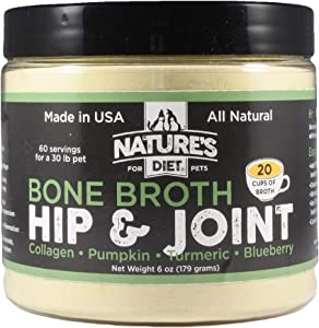 Nature's Diet Pet Original Bone Broth Protein Powder with Functional Benefits for Hip and Joint, Digestion, Skin and Coat (Hip & Joint, 6 oz = 60 Servings)
