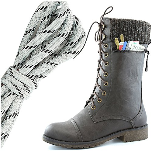 DailyShoes Womens Combat Style Lace up Ankle Bootie Round Toe Military Knit Credit Card Knife Money Wallet Pocket Boots, Grey Black Brown Pu