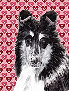Caroline's Treasures SC9702GF Black and White Collie Hearts and Love Flag, Small, Multicolor
