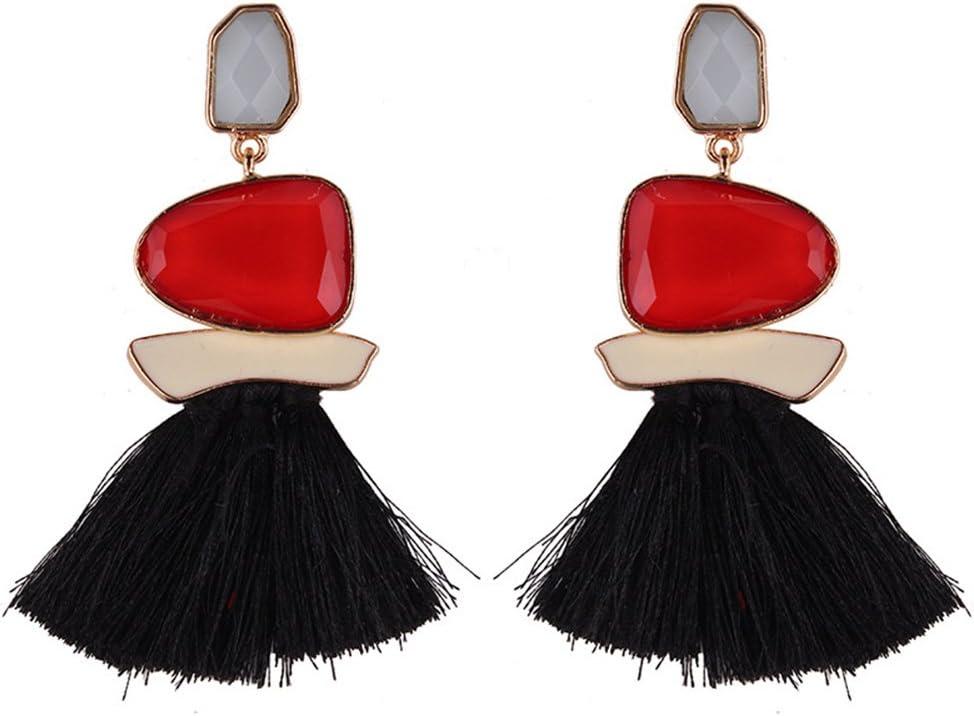 GGG Las mujeres de moda borla de aleación de diamantes de imitación pendientes de gota larga franja cuelgan los pendientes color Rojo Negro