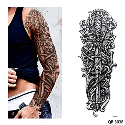 12055e15e Image Unavailable. Image not available for. Color: s13 1 Piece Temporary  Tattoo Sticker Nun Girl Pray Design Full Flower Arm Body ...