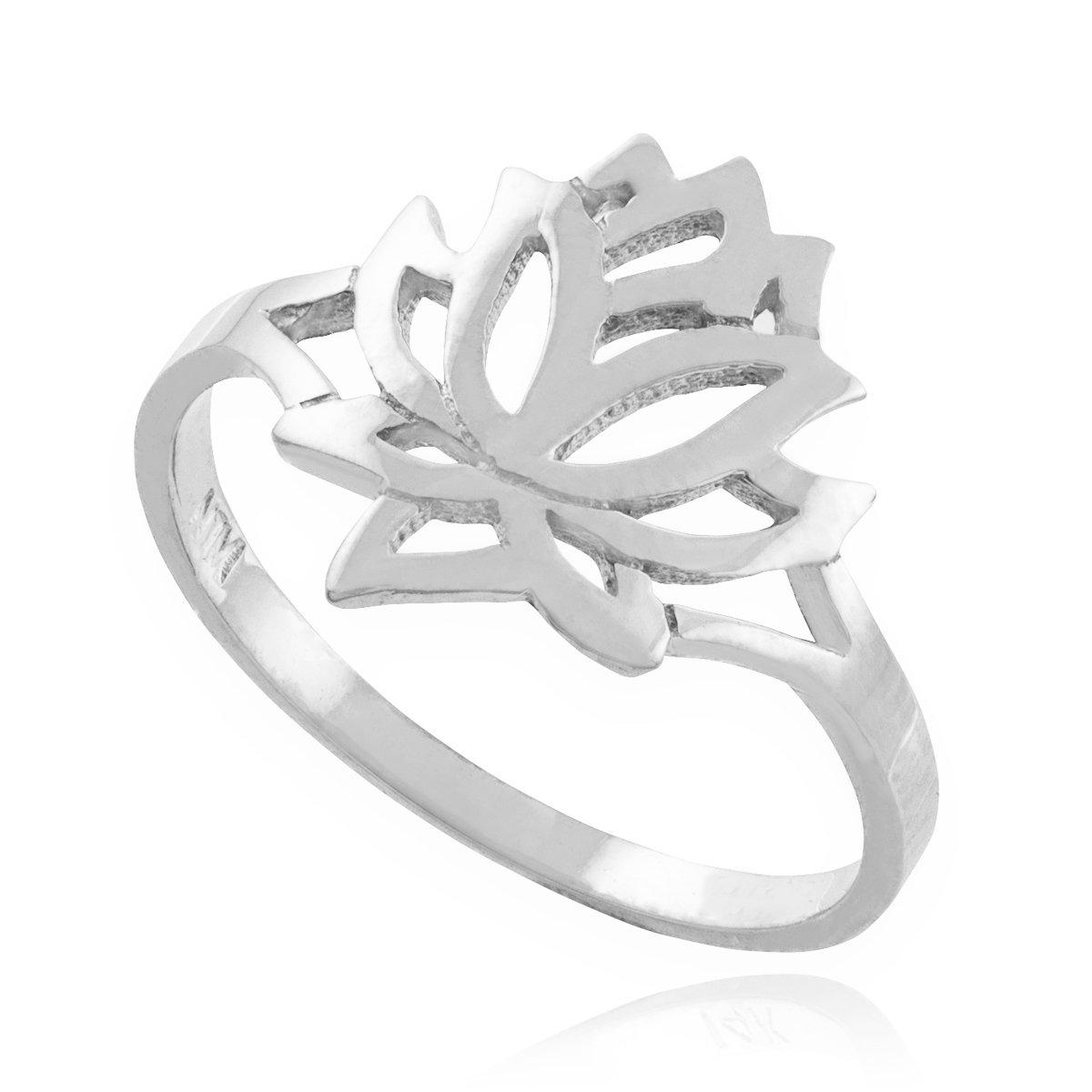 Fine 14k White Gold High Polish Open Lotus Flower Ring (Size 9)