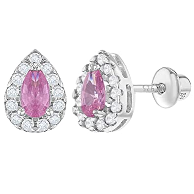 3ed1eb173 925 Sterling Silver Pink Clear CZ Tear Screw Back Safety Earrings for  Girls: Amazon.co.uk: Jewellery