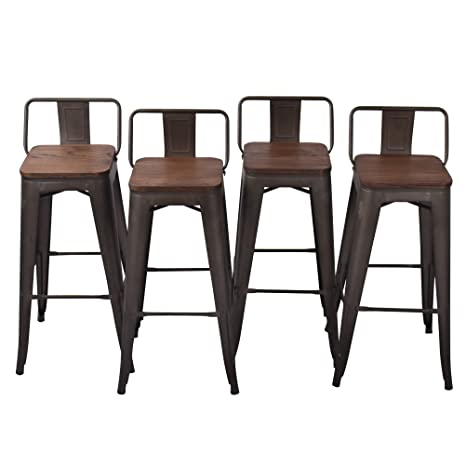 Terrific Haobo Home 30 Low Back Metal Counter Stool Height Bar Stools With Wooden Seat Set Of 4 For Indoor Outdoor Barstools Squirreltailoven Fun Painted Chair Ideas Images Squirreltailovenorg