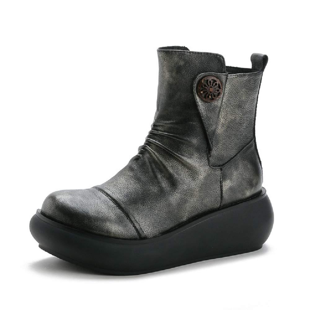 ZHRUI Zipper Stiefel Damen Leder Plattform Blaume Knöchelschuhe Knöchelschuhe Knöchelschuhe (Farbe   Grau, Größe   EU 36) 51c00f