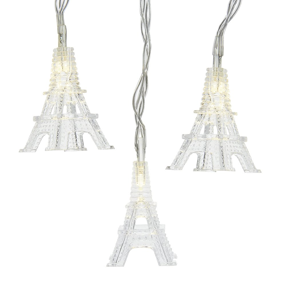 Kurt Adler Battery-Operated Set of 10 Warm White Eiffel Tower Lights