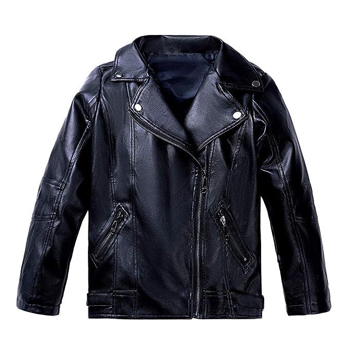 low priced cb8b0 e4e9f Lau's Giacca di pelle ragazzo giubbotto ecopelle - Giubbotti finta pelle  moto con tasche con zip