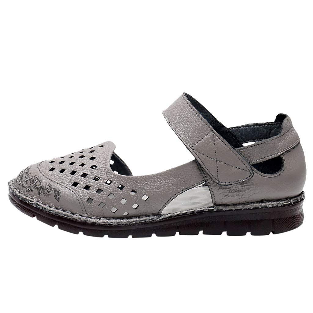 Women Wedge Sandals Summer,SIN+MON Women's Roman Sandals Hook and Loop Casual Shoes Closed Toe Comfort Breathable Sandals