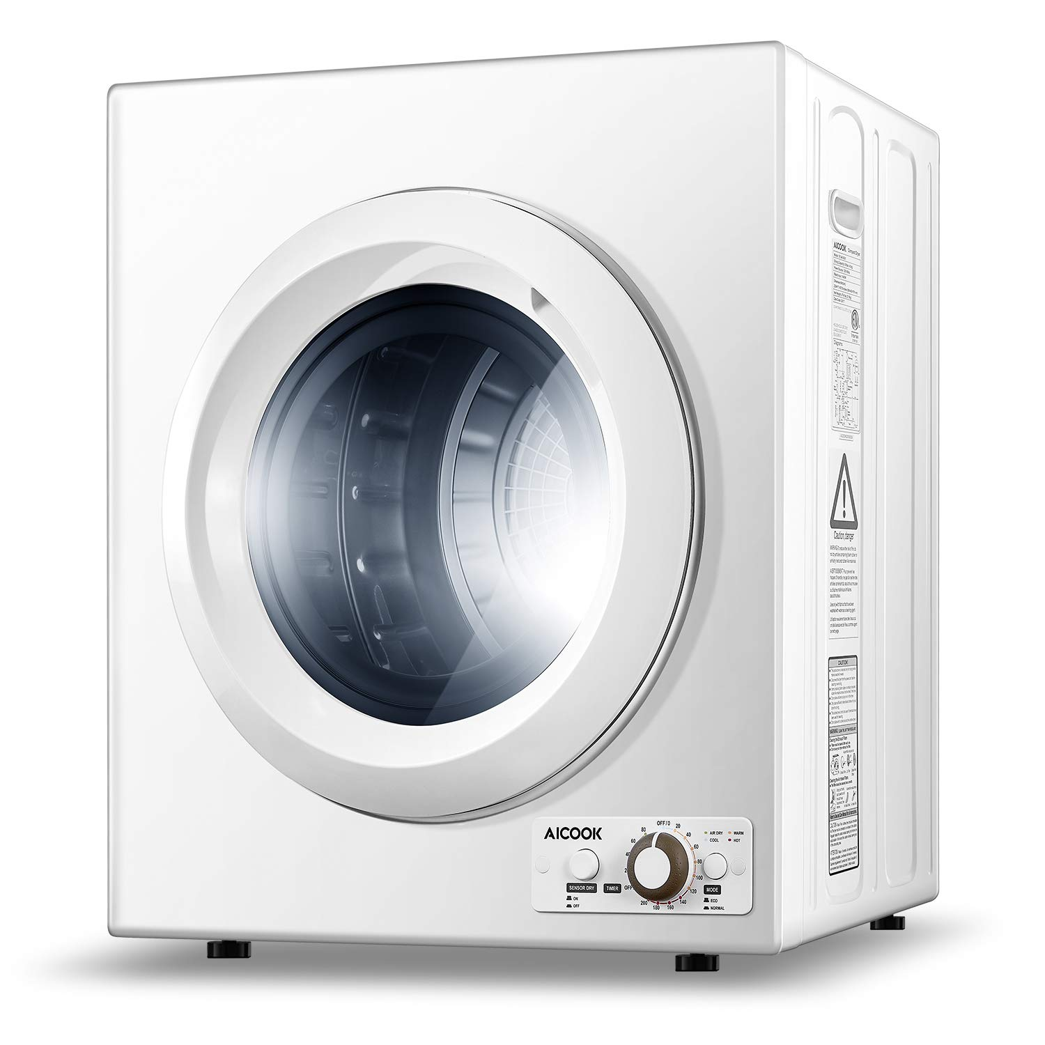 AICOOK 1400W Compact Laundry Dryer, 9 lbs Portable Dryer with Stainless Steel Tub, 2.65 Cu.Ft Compact Tumble Clothes Dryer for Apartments, Easy Control Button Panel for Variety Drying Mode (White)