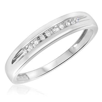 My Trio Rings - 1 15 CT Round Diamond Mens Band in 10K White gold ... 9d6e8d66b