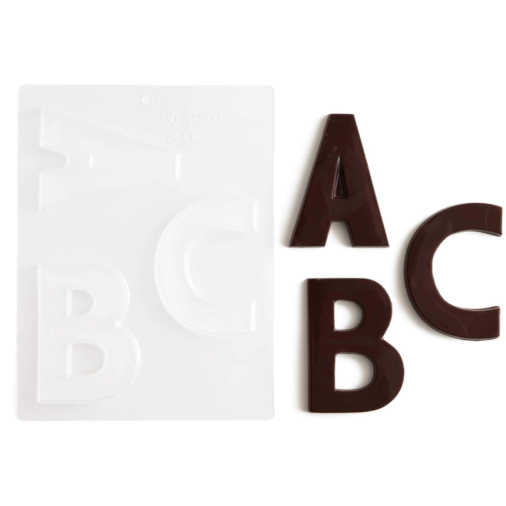 Large Block Letters Chocolate Candy Molds - A - Z (8) 4'' Letter Alphabet Set (Cakegirls Chocolate Mold Instructions Included) by Cakegirls (Image #1)