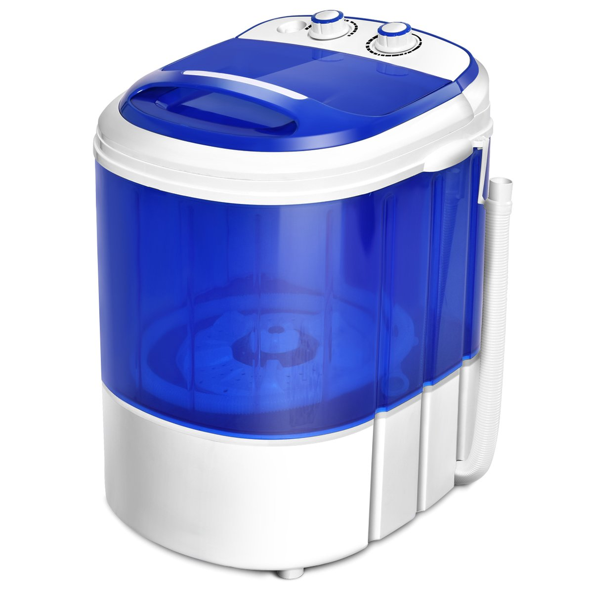 COSTWAY Mini Portable Washing Machine for Compact Laundry, Small Semi-Automatic Compact Washer with Timer Control Single Translucent Tub 7lbs Capacity (Blue and White)