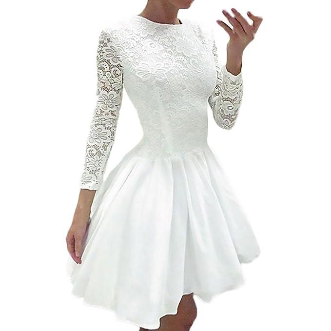 HX fashion Mujer Vestidos De Fiesta Cortos Elegantes De Encaje Manga Larga Cuello Redondo Cintura Alta