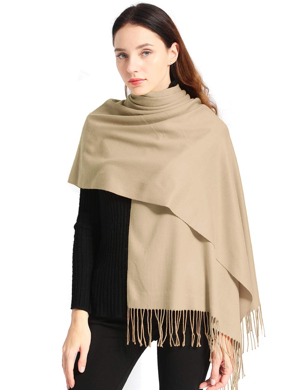 "Pashmina Scarf Women Soft Cashmere Scarves Stylish Large Warm Blanket Solid Winter Shawl Elegant Wrap 78.5""x27.5"""
