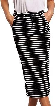 Falda de Mujer a Rayas, elástica, Falda Corta LeeMon, Falda de ...