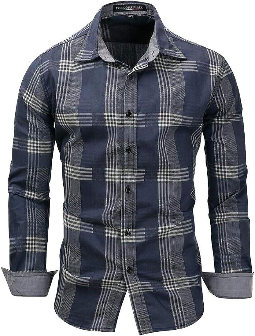 Jofemuho Men Lapel Neck Slim Fit Long Sleeve Plaid Print Casual Button Up Dress Shirt