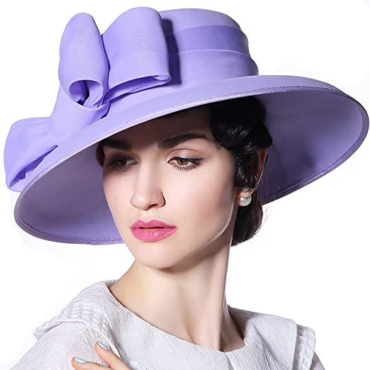 June s Young Women Hat Sun Hat Bow Chiffon Stylish Gorgeous Hat Style  (Light Purple Hat a6ad62bbb144