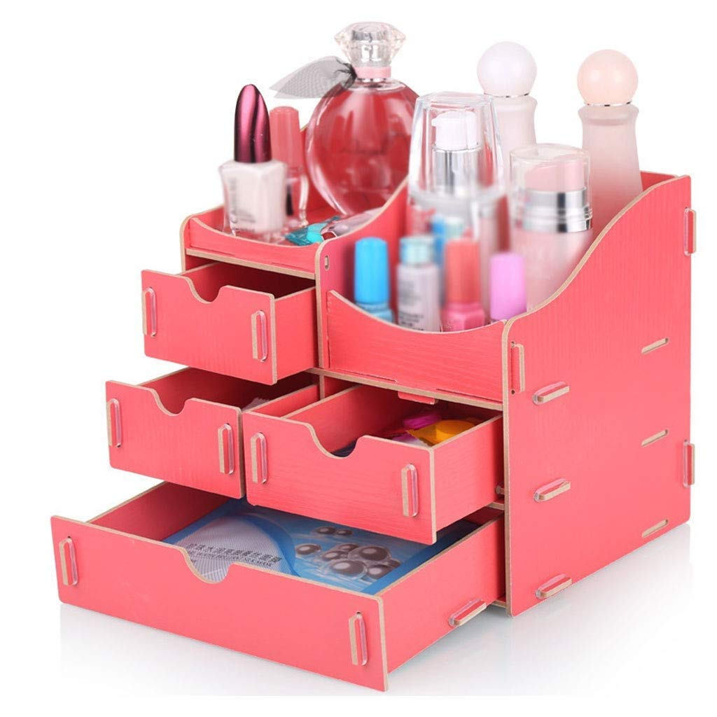 RMXMY Creative Wooden Large Desktop with Drawer Multi-Function Finishing Rack Jewelry Box Cosmetic Storage Box (Color : A)