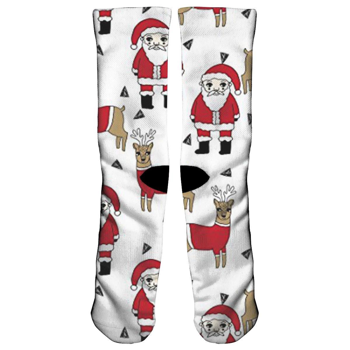 7166a3a2ed KOPTZA Santa and Reindeer Xmas Holiday Athletic Tube Stockings Women Men  Classics All-Season Cotton Crew Work Socks Sport Long Sock for Running  Cycling ...