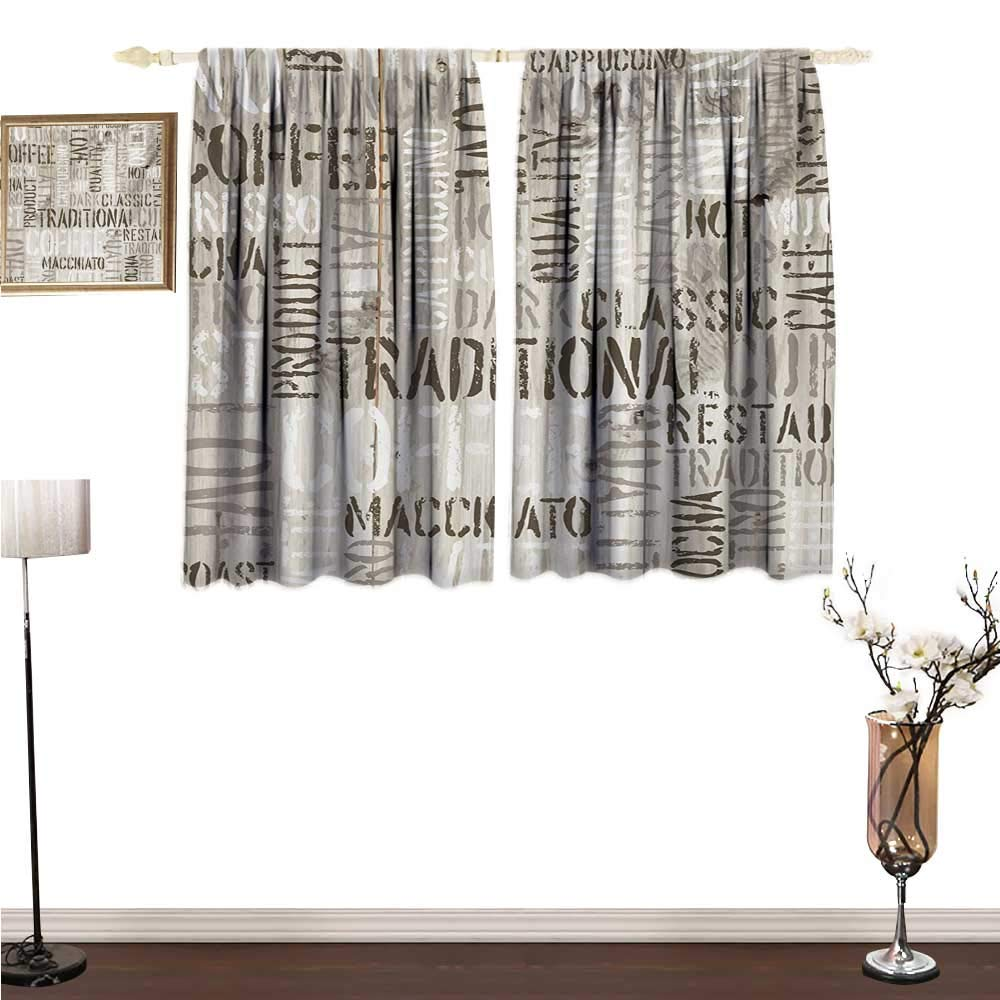 homehot Blackout Curtains Modern,Wooden Background with Coffee Phrase Espresso Hot Chocolate Cappuccino Design,Beige Army Green Window Drapes for Bedroom W63 x G63