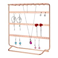 LEORISO Jewelry Stand, 4-Tier Metal Earrings Organizer, Beautiful Rose Gold Necklaces Holder & Bracelets Display, Jewelry Organizer
