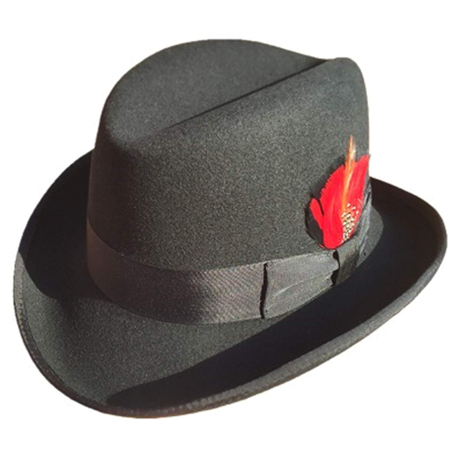 5b93822ad74aca Thinkin Classic Wool Felt Homburg Godfather Fedoras Bowler Hat for Men  Black Blue Brown Red: Amazon.co.uk: Clothing
