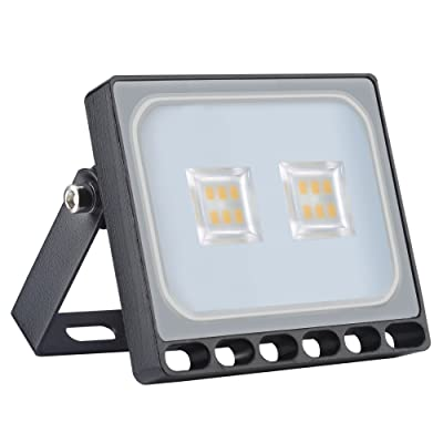 10W Led Flood Light, Catinbow 1000LM Security Lights Motion Outdoor Warm White 3200K, IP65 Waterproof Outdoor Work Light for Garden Backyard Garage Playground