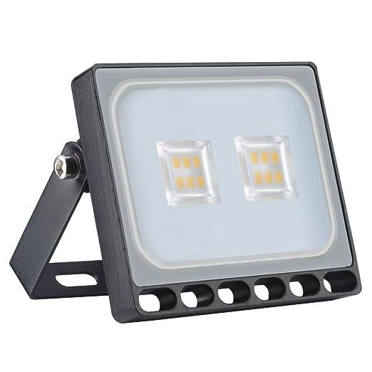 Proyector LED ultrafino de 10 vatios, blanco cálido IP67, interior ...