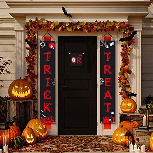 Evil Halloween Tricks (Halloween Decoration Outdoor Trick or Treat Banner Sign Set Party Supplies for Halloween Gate Yard Door Porch)