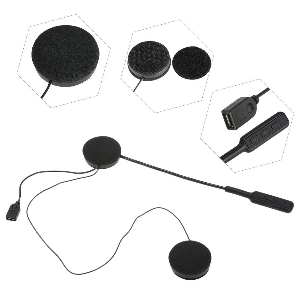 Docooler Motorcycle Helmet Bluetooth Headsets Wireless Headphones Bluetooth 4.0 Dual Stereo Speakers Hands-free with Mic Earphone