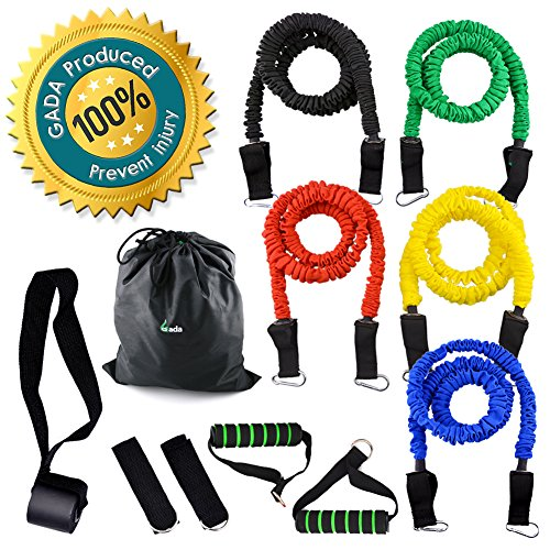 Gada-11Pcs-Resistance-Band-SetHeavy-duty-Workout-Fitness-Exercise-Tube-Bands-with-cloth-Cover-Door-Anchor-Ankle-Strap-and-Resistance-Band-Carrying-CaseBest-Quality-ANTI-SNAP-Rubber-Bands-Kit
