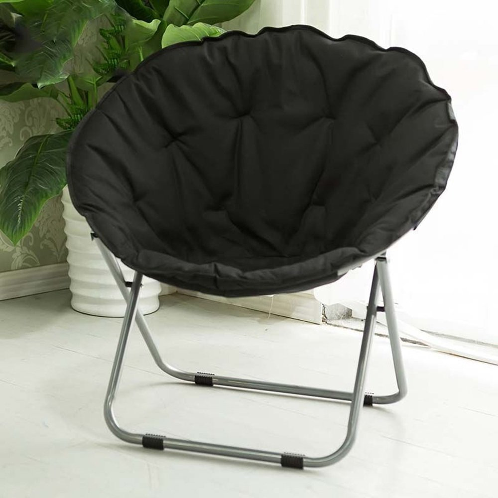 Folding chair / Round Leisure Folding Chair / Moon Chair / Home Folding Chair / Recliner /Home lazy sofa /Sun loungers /Balcony lounge chair / ( Color : Black )