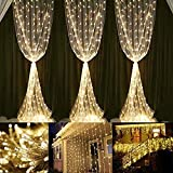 Neretva Window Curtain Icicle Lights, 600 LEDs String Fairy Lights, 19.68FTx9.84FT, 8 Modes Linkable, Icicle Fairy Lights for Christmas Party Wedding Home Patio Decorative Lights (Warm White)