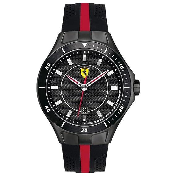 Ferrari 830079 - Reloj analógico de cuarzo para hombre, correa de silicona color negro: Amazon.es: Relojes