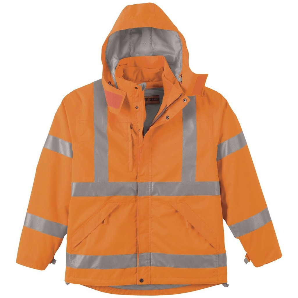 Ash City Mens 3 in 1 Vertical Stripe Safety Jacket with Fleece Liner (X-Small, Safety Orange)