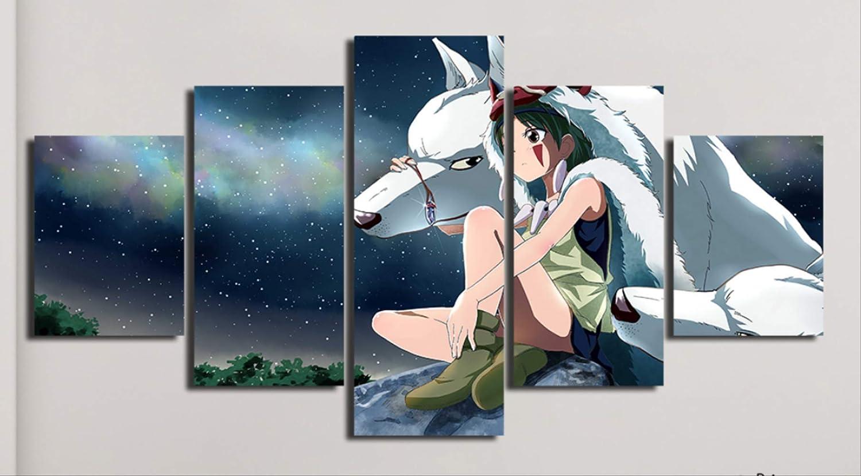 RUIYAN Cuadro En Lienzo Princesa Mononoke Pintura Impreso Hayao Miyazaki Cartel Habitación para Niños Decoración para El Hogar Arte De La Pared Hc24T 150X100Cm 5 Piezas Sin Marco