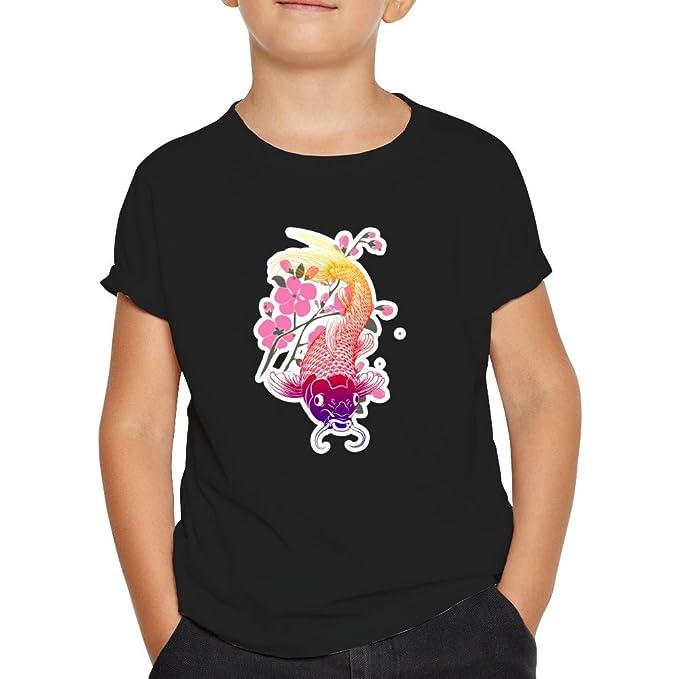 Camiseta Carpa Japonesa.Una Camiseta de Niño con la tipica Carpa Japonesa. Camiseta Original de Color Negro: Amazon.es: Ropa y accesorios