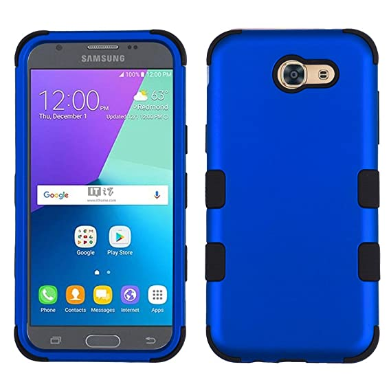 the latest c05bc 8f559 Samsung Galaxy J3 Eclipse Case - Shockproof [TUFF Series] [Military Grade  Drop Tested] Impact Resilient Hybrid Cover - [(Blue)] and Atom LED