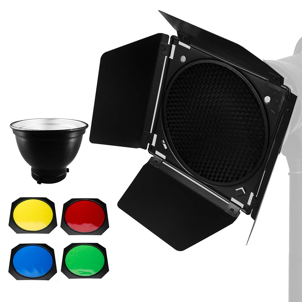 Ultrapure BD-04 Barn Door Honeycomb Grid 4 Color Filter + Bowens Mount Reflector for Studio Flash by Ultrapure