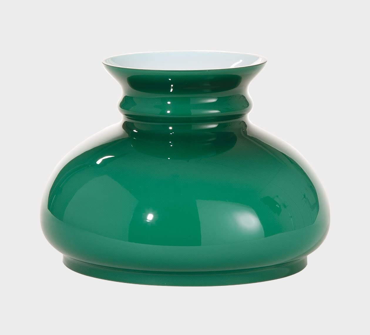 """B&P Lamp Green Over Opal, Cased Glass 7"""" Fitter Shade,"""
