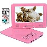 ポータブルDVDプレーヤー 9インチ 車載携帯式DVDプレイヤー リージョンフリー CPRM対応 TVと同期可能 ラストメモリー機能搭載 超軽量 ピンク