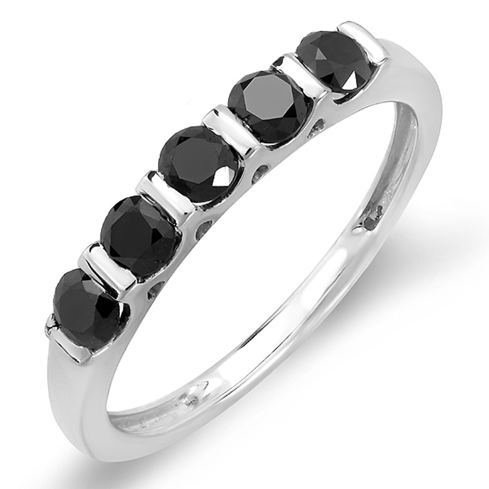 0.75 Carat (ctw) Sterling Silver Round Black Diamond Ladies Anniversary Wedding Stackable Band Ring 3/4 CT (Size 8.5)