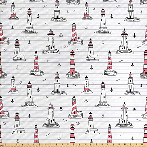 Ambesonne Lighthouse Fabric by The Yard, Notebook Pattern with Nautical Elements Seagulls and Anchors Doodle Style, Decorative Fabric for Upholstery and Home Accents, 1 Yard, Pink Lilac Black
