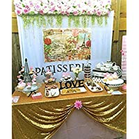 """B-COOL 50""""x50"""" Rectangle Gold Sequin Tablecloth Glitter Tablecloth Sequin Wedding Christmas Tablecloth"""