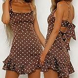 Snowfoller Women's Polka Dot Sling Dress Summer U Neck Beach Mini Dress Fashion Back Bow Sleeveless Ruffle Hem Short Dress