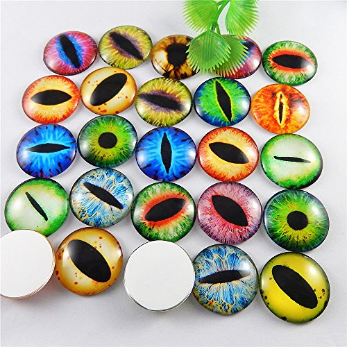 JulieWang 40PCS Vintage Mixed Style Cat Ghost Alien Evil Eyes Glass Cameo Jewelry Making Cabochons - Eyes Glass Cat