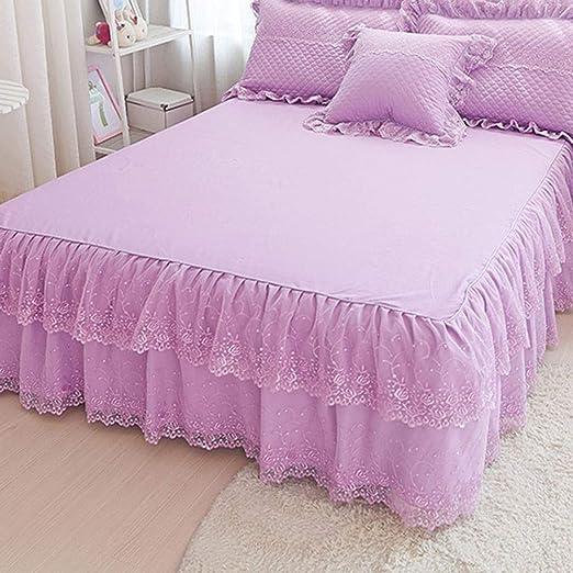 Encaje de algodón de color liso Faldas de la cama, Sedoso ...
