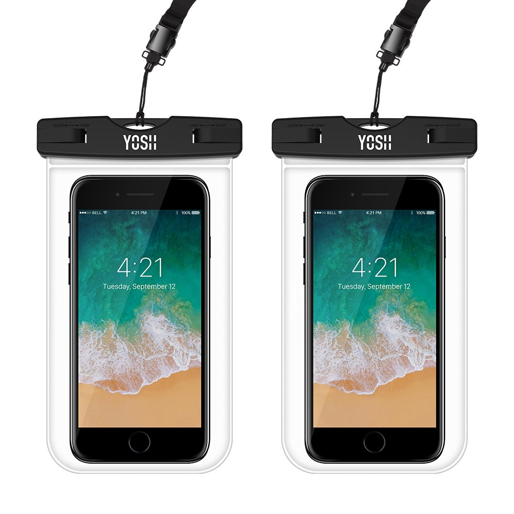 Waterproof Phone Pouch YOSH Universal Waterproof Case Phone Dry Bag Pouch for iPhone X/8/7/6/6S Plus 5S/5C Samsung Galaxy S9/S8/S7 Edge Note 5/4 Compatible with Cell Phone up to 6.0'' (2-Pack Clear)